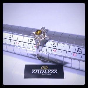 Vintage Amber Starburst Ring set in Silver